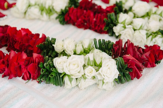 White red and green wedding floral garlands