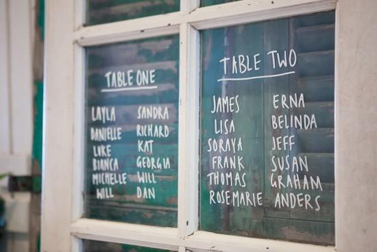 Window frame seating chart