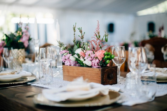Wooden box wedding centrepieces
