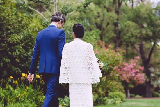 bride and groom walking to wedding
