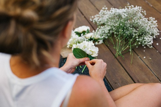 Arranging flowers on the morning of the wedding