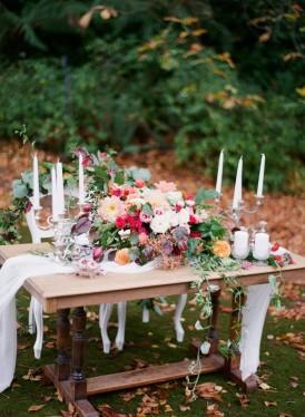 Autumn Wedding Flower Table Arrangement