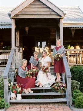 Bidesmaids in marsala dresses