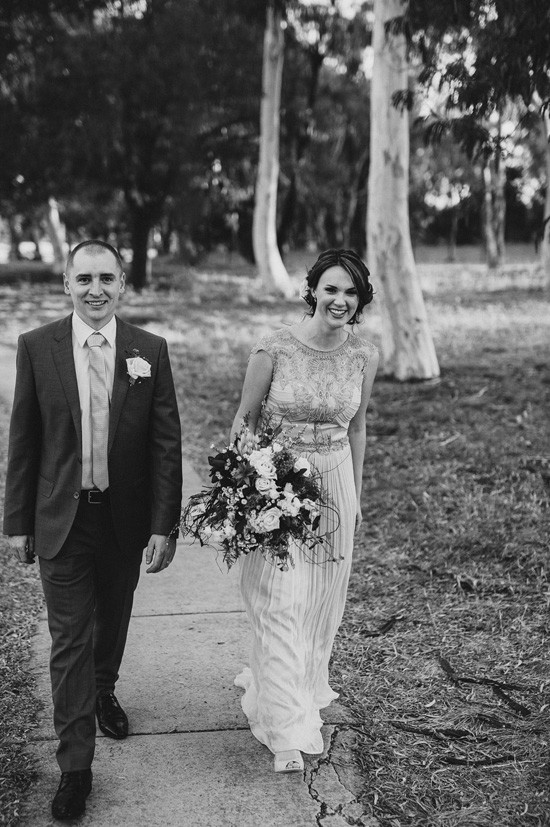 Black and white Canberra wedding photo