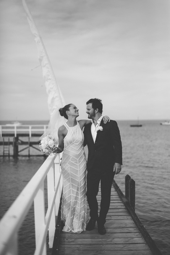 Black and white SOrrento wedding photo