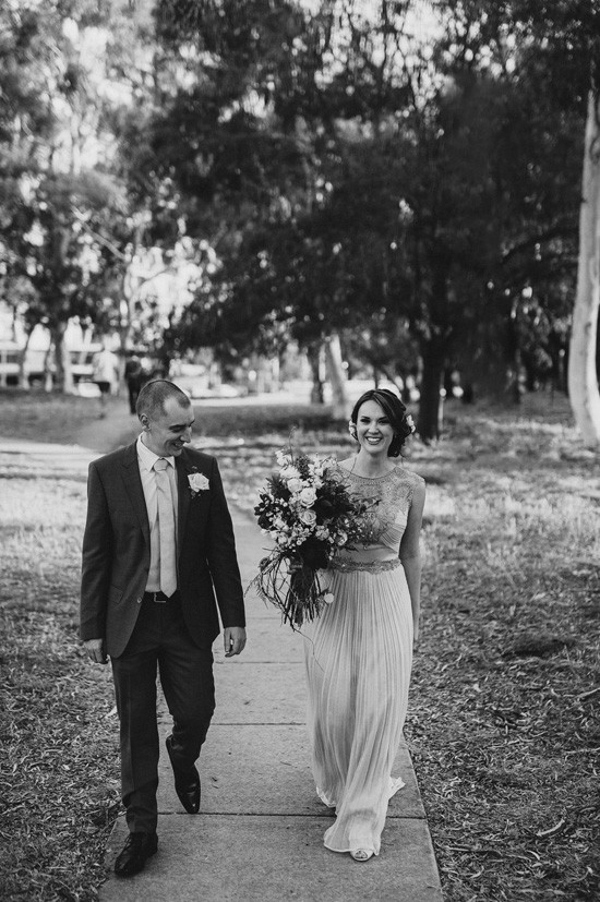Black and white modern wedding photo