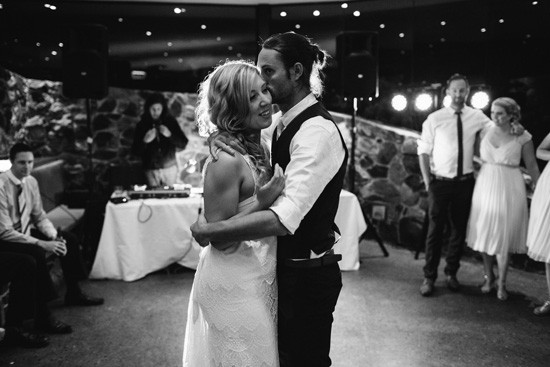 Black and white photo fo first dance
