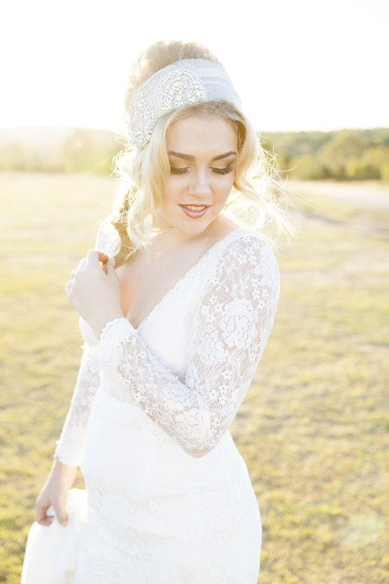 Boho long sleeve wedding dress