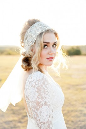 Boho tulle wedding hair band
