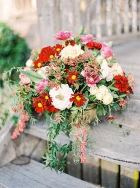 Bouquet of cream and marsala