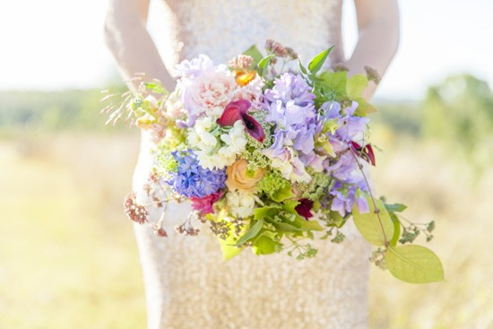 Bouquet with green purple and pink