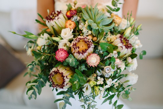 Bouquet with proteas and euclayptus