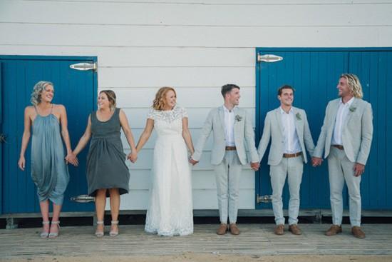Bridal party in creams and greys