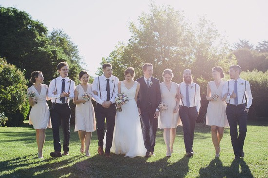 Bridal party with braces and pale pink dresses