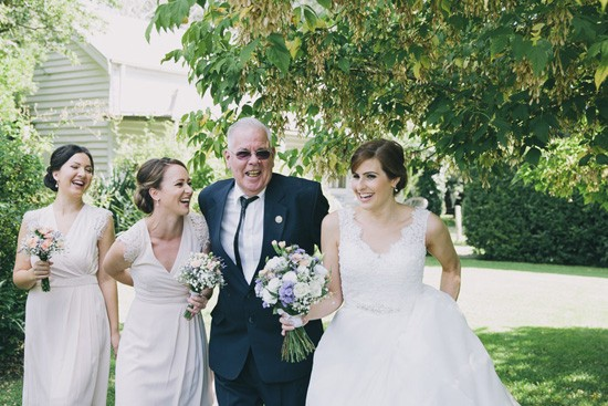 Bride and father walking to wedding