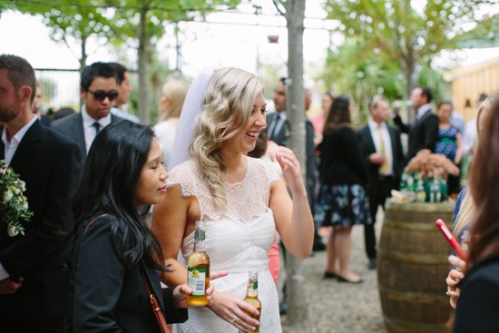Bride celebrating with drinks