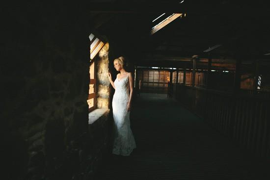 Bride in barn photo Australia