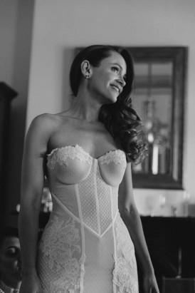 Bride in corset style wedding dress