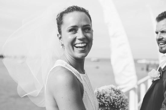 Bride in flyaway veil