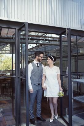 Bride in sixties style wedding dress
