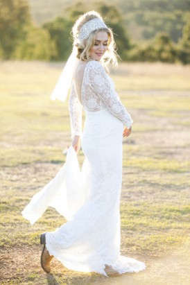 Bride in wedding dress with boots