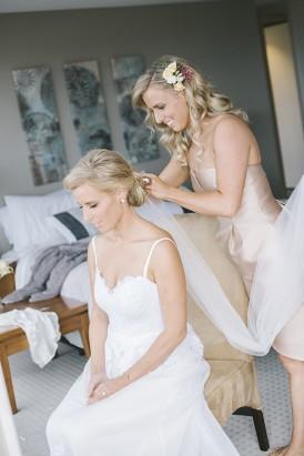 Bride sitting on One Day bridal Wedding dress
