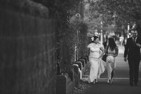 Bride walking on St Kilda Rd