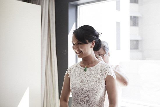 Bride wearing jade necklace