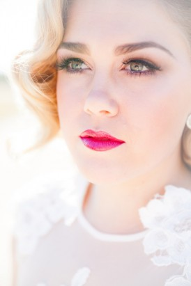 Bride with berry pink lips