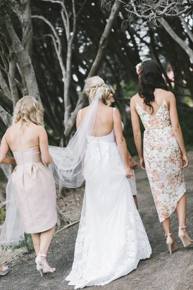 Bride with patterend bridesmaid dress