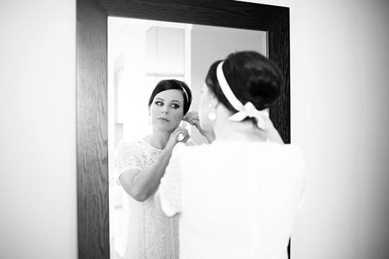 Bride with ribbon bow headband