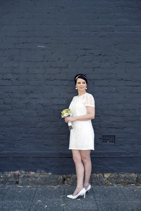 Bride with sixties inspired look