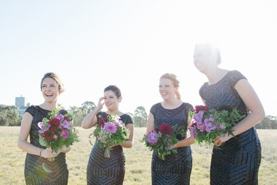 Bridesmaids-in-Black-Sewuin-Gowns-550x367