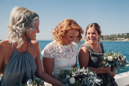 Bridesmaids in grey modern dresses