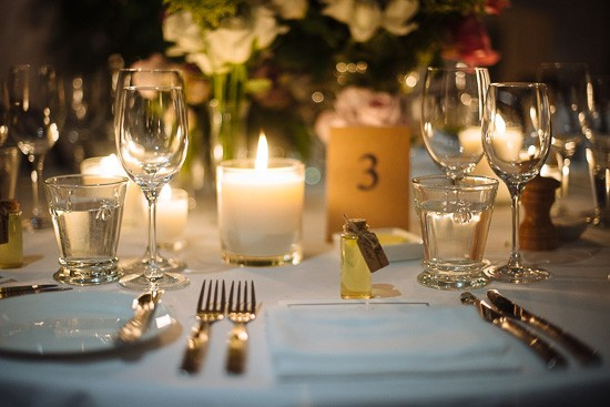 Candle place settings at wedding
