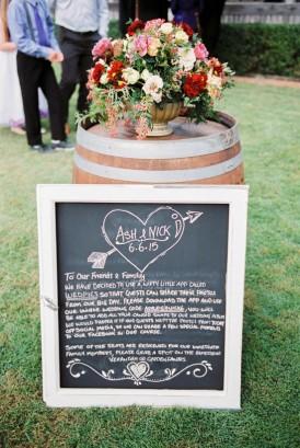 Ceremony chalkboard sign