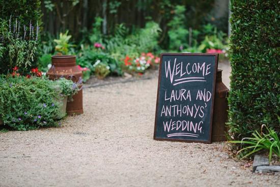 Chalk baord wedding welcome sign