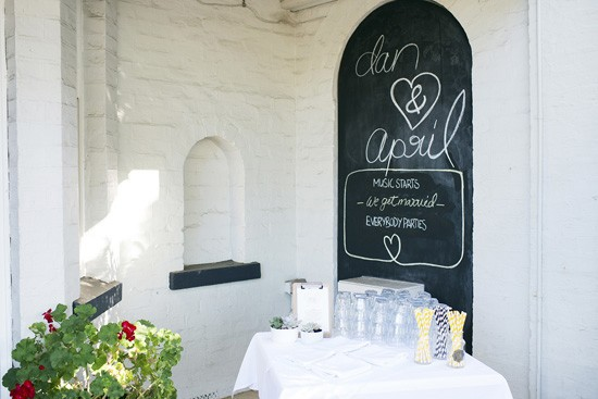 Chalkbaord wedding drinks backdrop