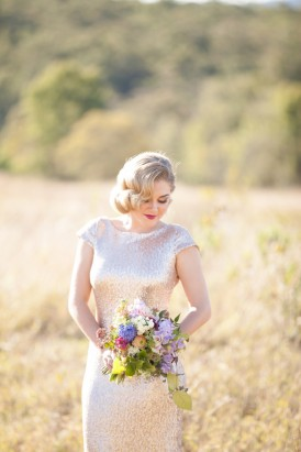 Champagne sequin wedding gown