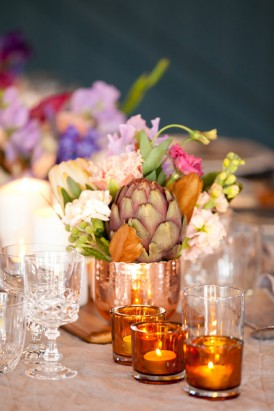 Copper and Amber wedding decor