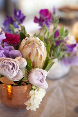 Copper and purple wedding decor
