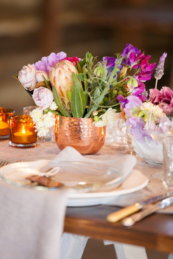 Copper wedding centrepieces