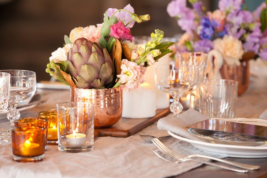 Copper wedding decor at country wedding