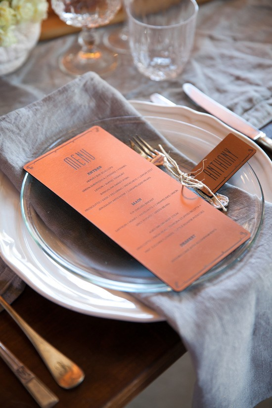 Copper wedding menu