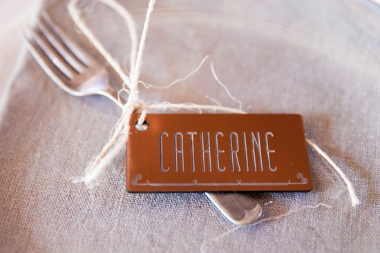 Copper wedding place card