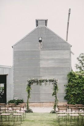 Corrugated Iron shed Ceremoyn Backdrop