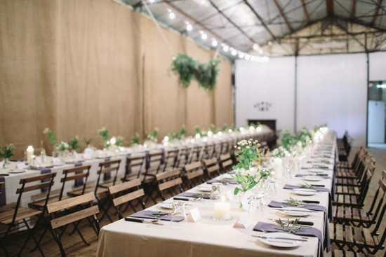 Country shed wedding reception