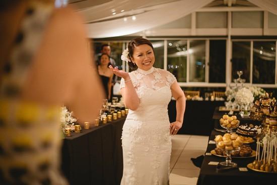 Dancing happy bride