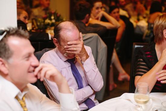 Embarrased wedding guest