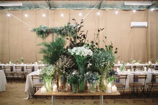 Floral display at country wedding